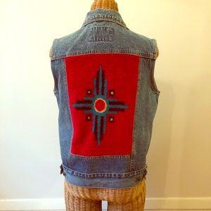Vintage Navajo blanket jean vest